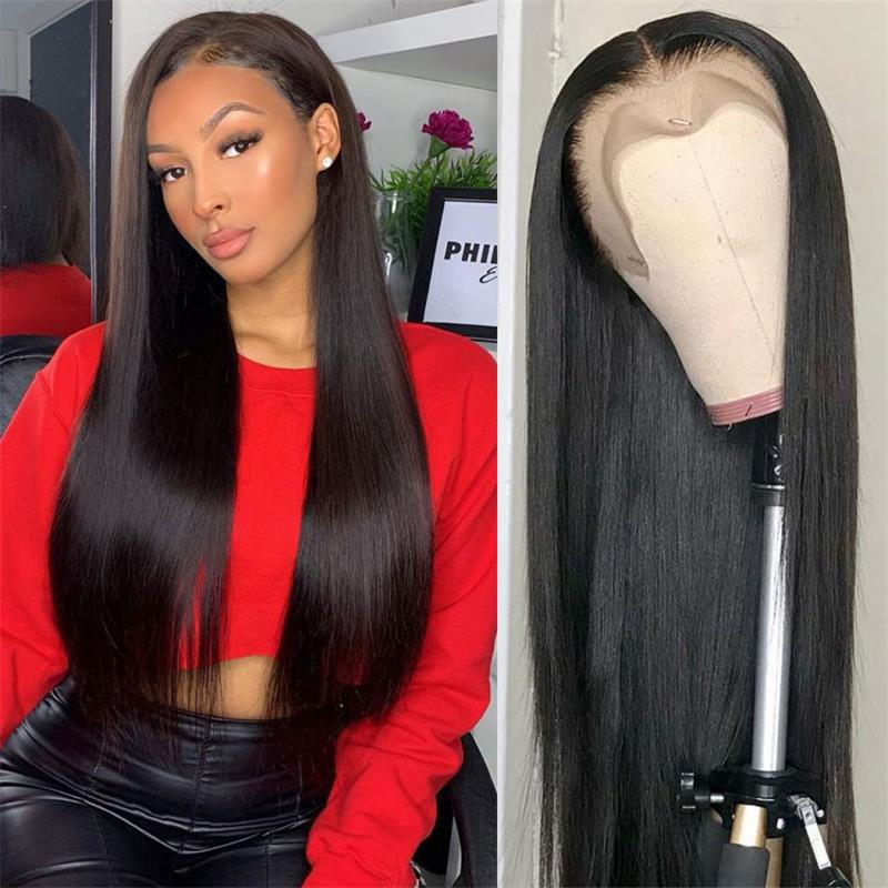 Sapphire HAIR Straight Lace Front Wig 360 Lace Frontal Wig PrePlucked Brazilian 150% Density Straight Lace Front Human Hair Wigs