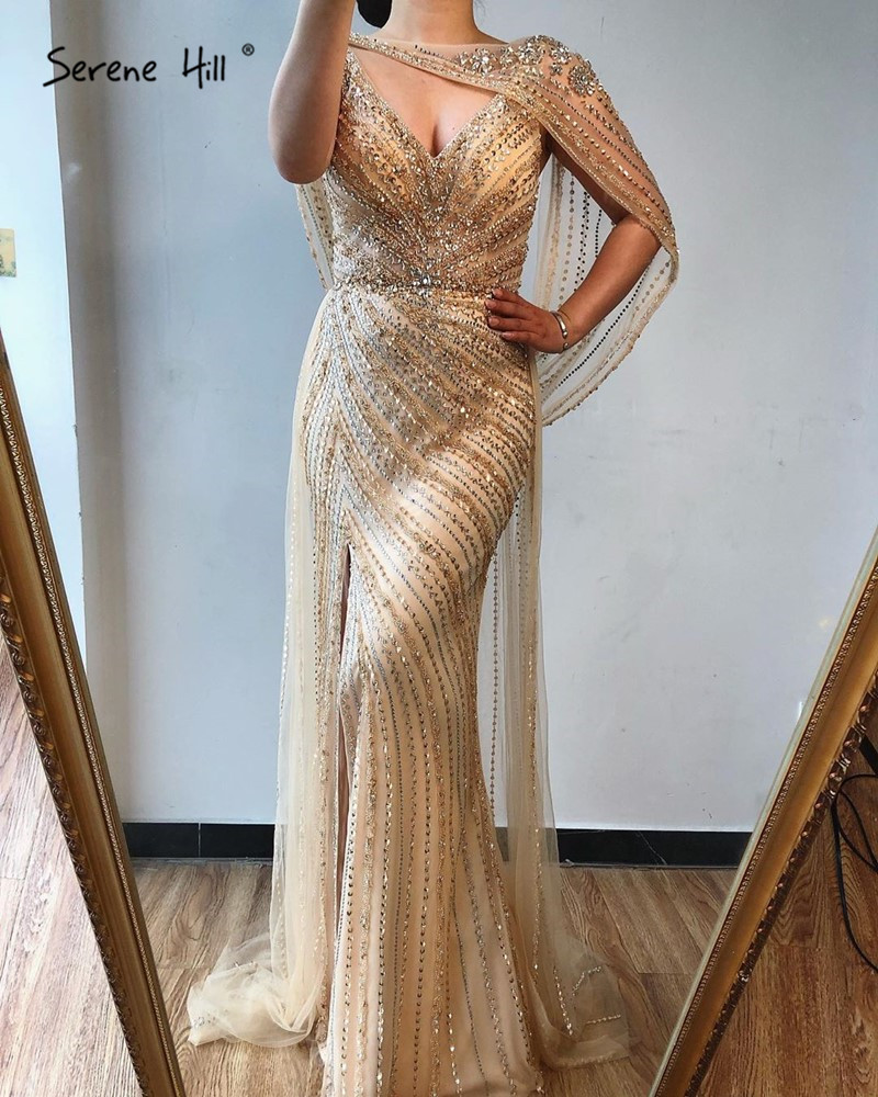 Image 5 - Luxury  V neck Sexy Evening Dresses 2020 Diamond Beading Sleeveless Split Mermaid Evening Gowns Real Photo Serene Hill DLA70301Prom Dresses   -