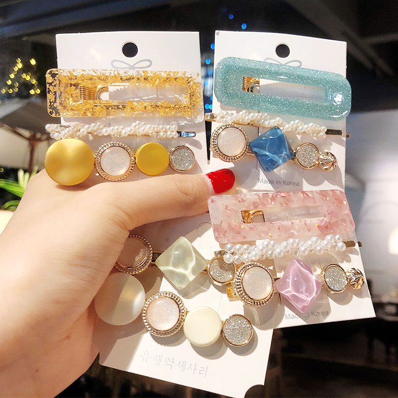 1Set Colorful Pearls Acetate Combination Hair Clips For Women Girls Sweet Headband Hairpins Barrettes Fashion Hair Accessories