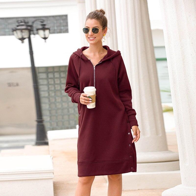 Hoodies Sweatshirts Women Clothing Feminina 2019 Fashion Casual Hoodies Coat Women Cotton Solid Loose Long Hoodies Women Coat