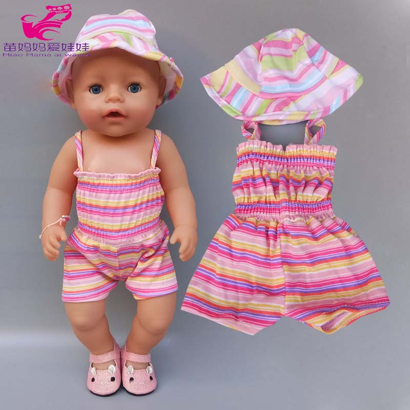 43cm Baby Bona Doll Summer Strap Shirt Sun Hat For 40cm Baby Doll Clothes Children Girl Toys Outfits