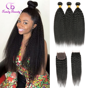 Brazilian Kinky Straight 3 Bundles With 4x4 Closure Human Hair Bundles With Closure Trendy Beauty Hair kinky straight bundles
