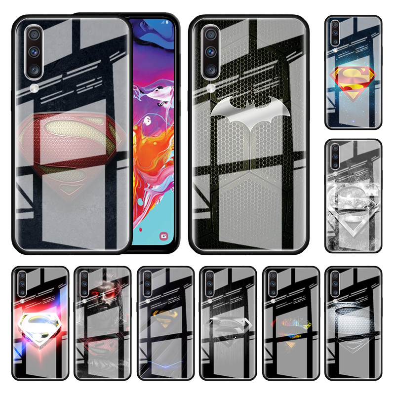 <font><b>Marvel</b></font> Superman <font><b>Logo</b></font> Glass <font><b>Case</b></font> For <font><b>Samsung</b></font> <font><b>Galaxy</b></font> A70 A50 A51 M51 A20 A10 A11 A31 A71 M31 M21 M11 Tempered Phone Covers image