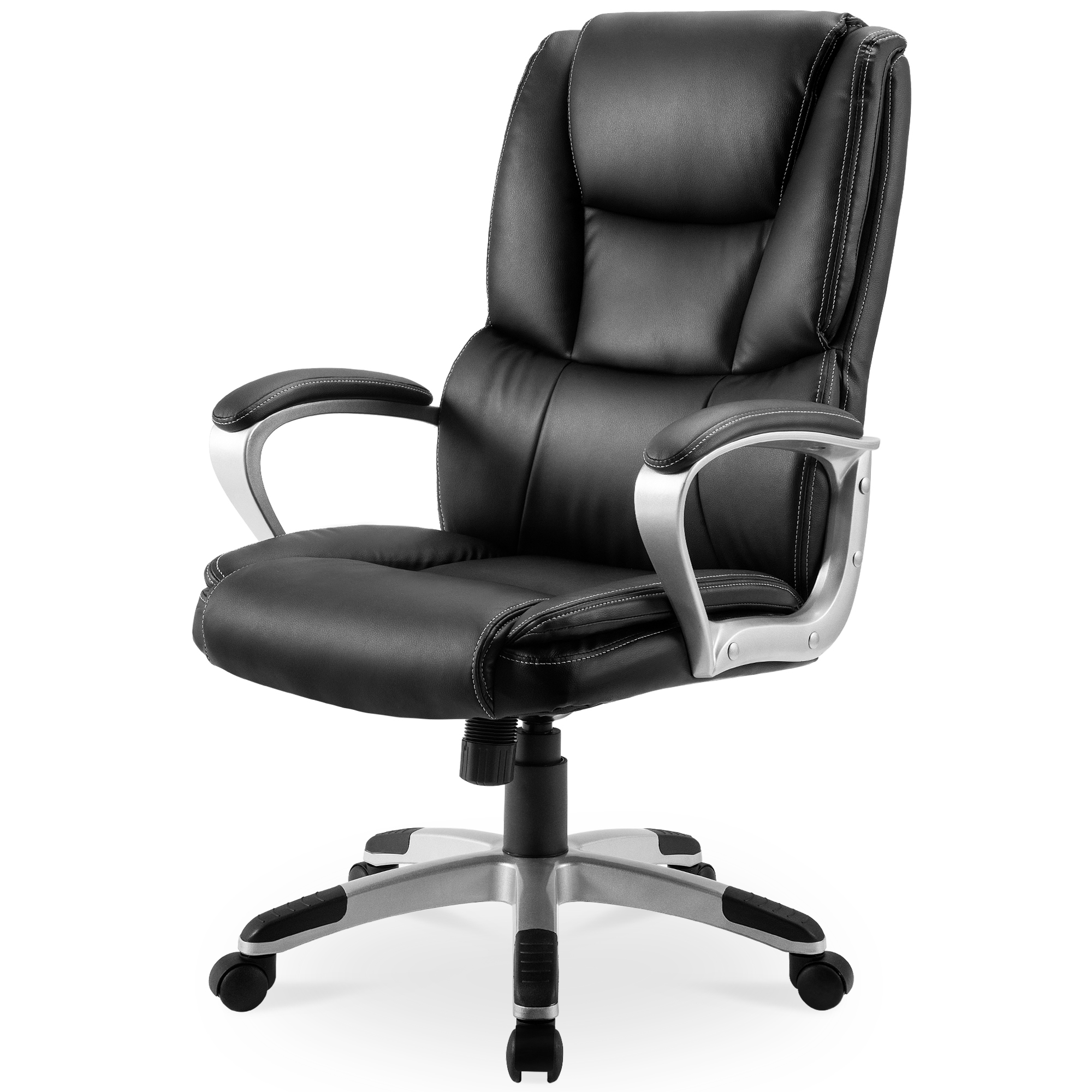 High-Back Leather Executive Swivel Office Computer Desk Chair, Adjustable Tilt Angle, Thick Padding For Comfort And Ergonomic