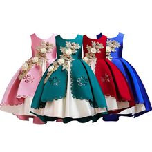 Flower Girls Wedding Party Dress Pleated Ball Gown Princess Dress Kids Girls Birthday Clothes Cute Girls Dress for Photo Shoot girls floral flowers appliques ball gown dress children cute mesh net yarn birthday party princess dress kids dress clothes