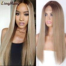 Linghang perruque synthétique longue droite mélangé brun et rouge longues perruques pour les femmes blanches/noires partie moyenne Nature perruques