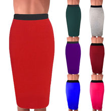 Women Pencil Skirts Work Skirt 2020 Sexy Slim Bodycon Summer High Waist Solid Split Formal Ol Office Ladies Plus Size#P30(China)