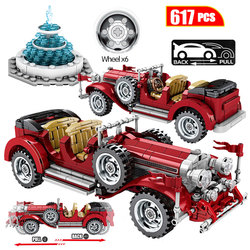 617Pcs Classic Car Building Blocks For  Technic Mechanical Vintage Roadster Vehicle City Models Bricks Toys For Boys