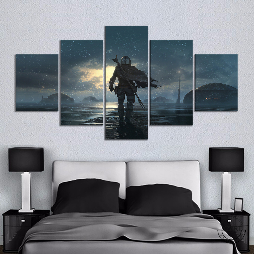 HD fantasy art wall picture Jango Fett view Star Wars the mandalorian movie poster artwork canvas paintings wall ar thome decor image