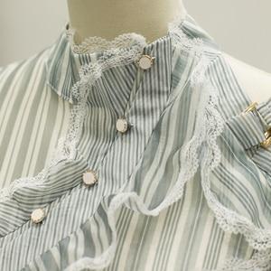 Image 3 - Vestido asimétrico de manga larga con volantes a rayas para mujer, traje de diseñador para pasarela, de alta calidad, a la moda, 2020