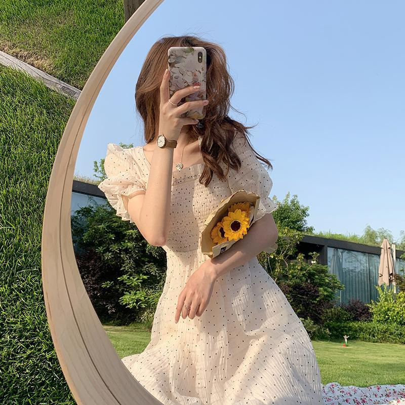 2021 Summer Floral Design Sweet Dress Short Sleeve Chiffon Elegant Dress Korean Style Square Collar Party Dress for Female Dot 7