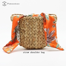 Pabaobao Silk Scarf Straw Crossbody Bag for women 2019 Shoulder Boho style Luxury Handbag sac main femme bolso mujer