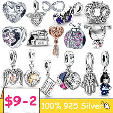 Silver Charm 925 Sterling Silver Ladybug infinity footprint Beads Pink Clear CZ Charms Fit Original pandora Bracelet Jewelry