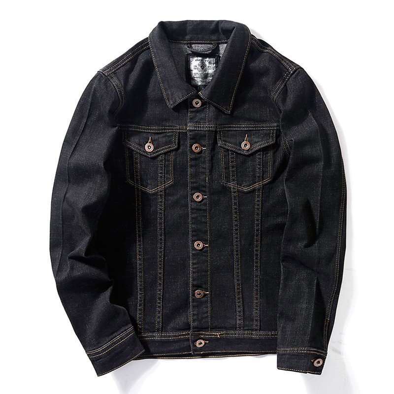 Image 5 - Mens Slim Denim Jacket 2019 Autumn New Classic Style Fashion 