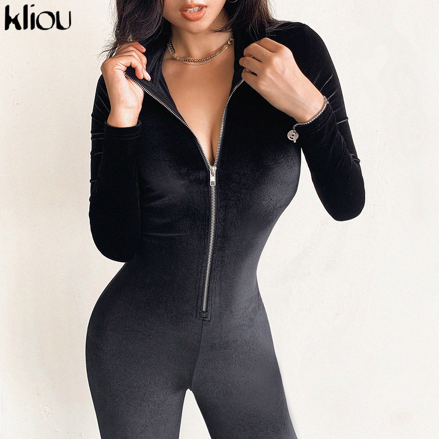 kliou fall winter Black suede Sexy Bodycon sporting   Jumpsuit   woman Long Sleeve Zipper Elegant street casual Bodysuit outfit