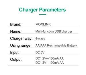 Image 5 - VOXLINK USB סוללה מטען 4 חריצים עם USB כבל עבור AA/AAA נטענת סוללות מטען עבור שלט רחוק מיקרופון מצלמה