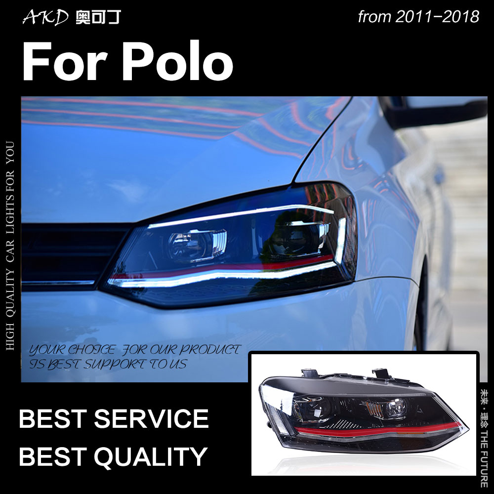 AKD Car Styling For VW Polo Headlights 2011-2018 Vento LED Headlight New Polo Design DRL Hid Head Lamp Bi Xenon Beam Accessories