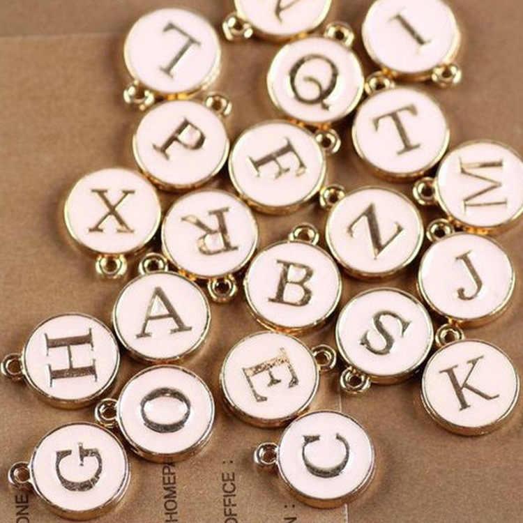 4 colore 12*15 millimetri Rotonda In Oro Smalto Alfabeto Pendenti E Ciondoli Capitale Beads Lettera Iniziale Pendenti Con Gemme E Perle Della Lega Monili Che Fanno Gli Accessori FAI DA TE