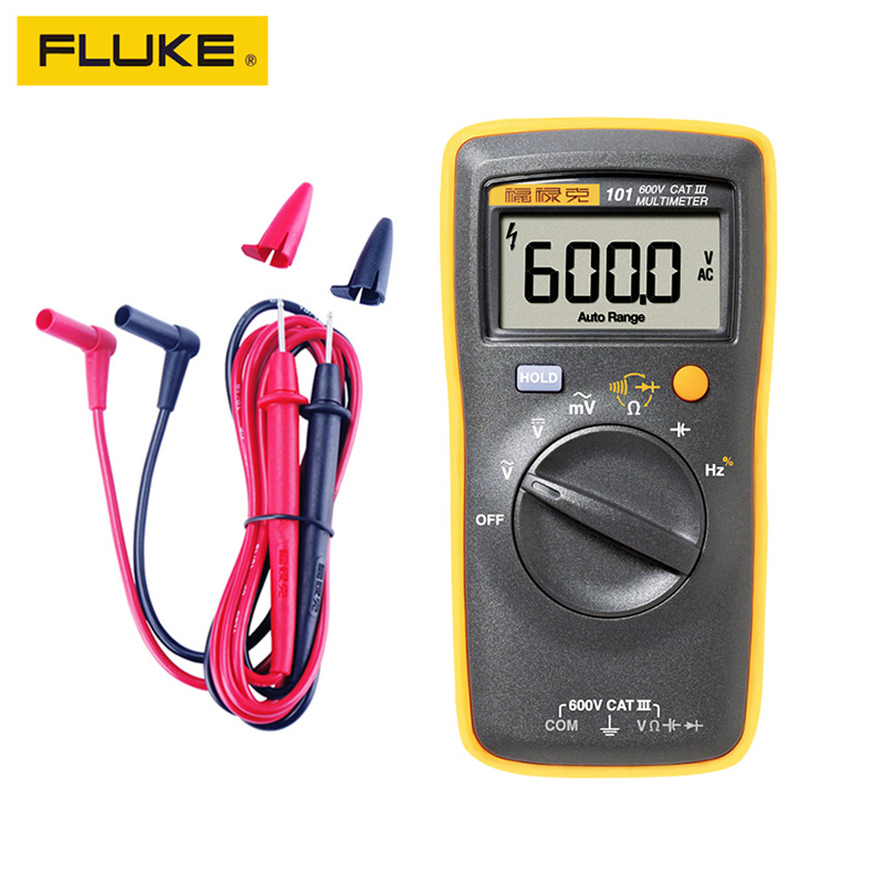 100% Original FLIUKE 101 Mini Digital <font><b>Multimeter</b></font> Auto Range for AC/DC Voltage Resistance Capacitance Frequency Duty Cycle Tester image