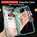 360 Magnetic Metal Case For Samsung Galaxy S20 S10 S9 S8 Plus S10E Double-Side Glass For Note20 10 8 9 Plus A51A71 A50 A30 Cover