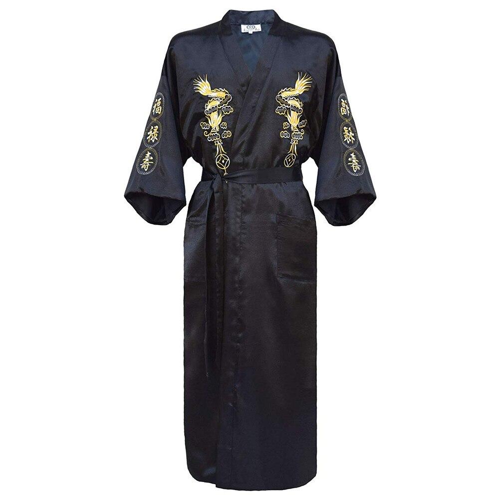 434.1руб. 31% СКИДКА|Кимоно купальный халат Домашняя одежда плюс размер 3XL китайская мужская вышивка платье с драконами традиционная Мужская одежда для сна женское нижнее белье|Халаты| |  - AliExpress