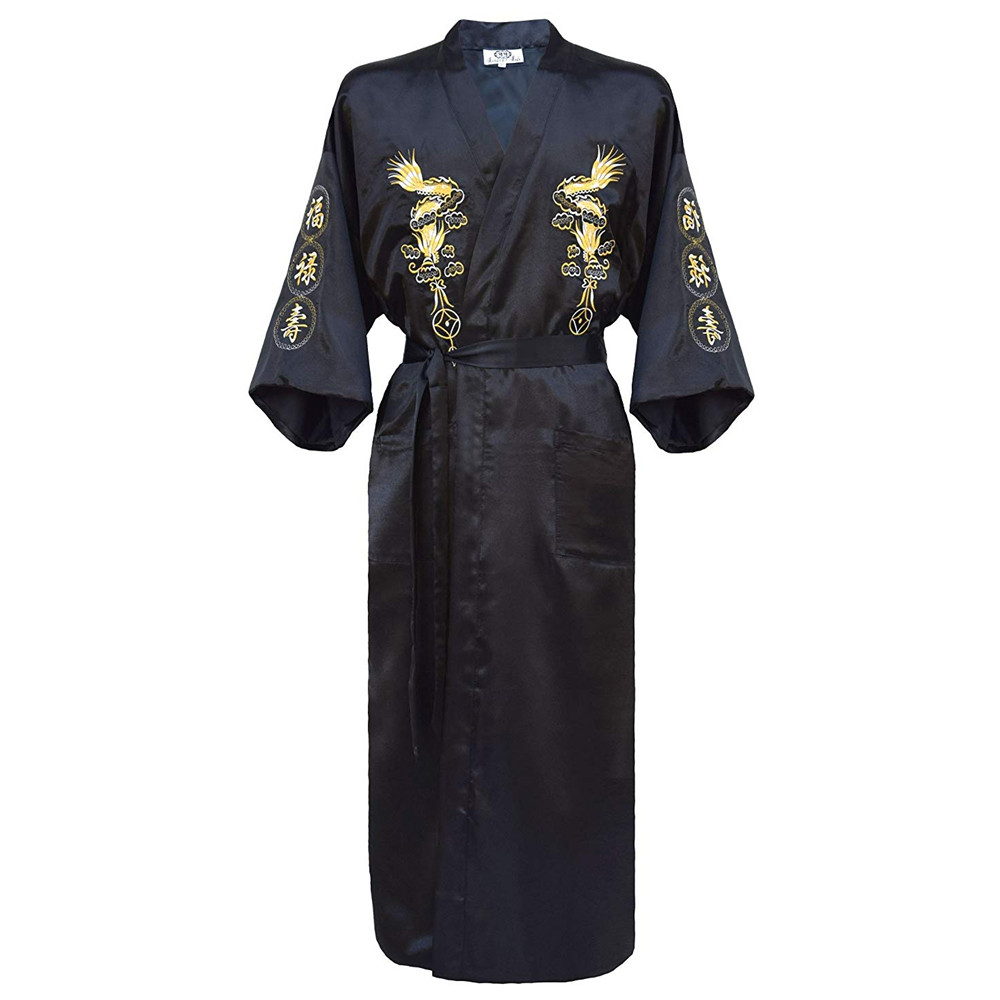 Dragon Robe Clothing Gown Nightwear Kimono Traditional Male Chinese Plus-Size Sleepwear title=