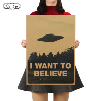 TIE LER Vintage Classic Movie The Poster I Want To Believe Poster Bar Home Decor Kraft Paper Painting Wall Sticker 51.5X36cm vintage classic movie black mirror poster good quality painting retro poster kraft paper for home bar wall decor stickers