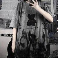 Japan Gray T Shirt Loose Summer Oversize T Shirt Women Harajuku Punk Short Sleeves T-shirts Tops Tee Hip Hop T-Shirt for Girl 1