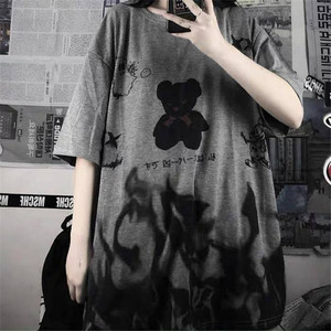 Japan Gray Tshirt Streetwear Loose Summer T Shirt Women Harajuku Punk Short Sleeves T-shirts Tops Tee Hip Hop Loose Tshirt Girls