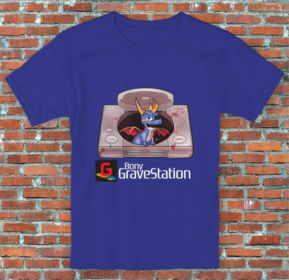 Bony GraveStation Console Spyro Parody Video Game Inspired T Shirt Men Women S M L XL 2XL Bodybuilding Tops Tee Shirt image