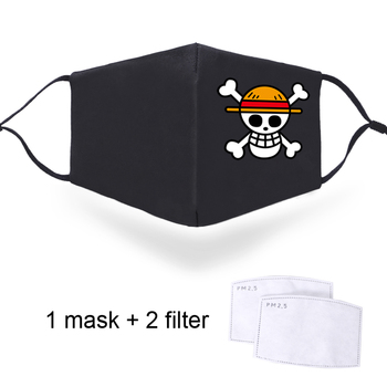 Japan Anime One Piece Print Masks Anti Dust Windproof Reusable PM2.5 Filters Half Face Face Mouth Muffles Luffy Skull Print Mask 2020 one piece mask monkey d luffy pirate cotton masks reusable washable skull cosplay masque