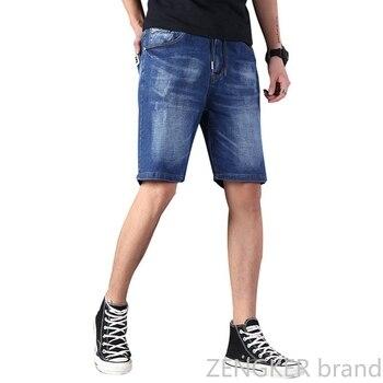Extra large size men's denim shorts oversized men's elastic waist knee length summer loose shorts men plus size 9XL 8XL 7XL 6XL Men's Bottoms