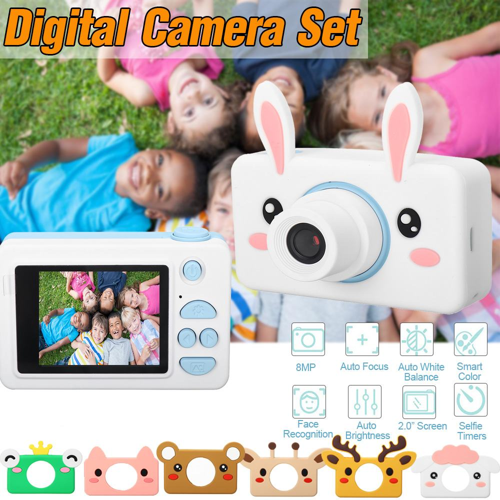 8MP 1080P HD Kids Digital Camera Rechargeable Cameras Children Toys With Cute Animal Protective Cover Christmas Gift For Girls