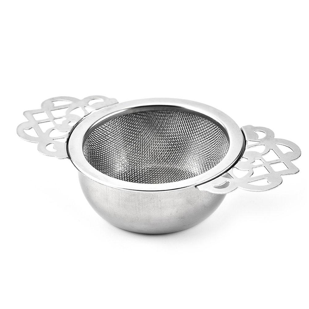 Spice Stainless Steel Tea Strainer With Drip Bowl Easy Clean Loose Leaf Traditional Hanging Herbal Double Ear Infuser Filter 40P