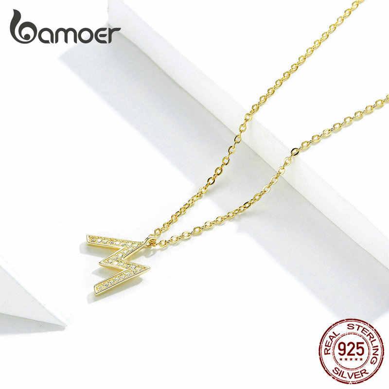 Bamoer Hiphop list alfabet M wisiorek naszyjnik dla kobiet i mężczyzn złoty 925 Stelring srebrny biżuteria punkowa GAN113