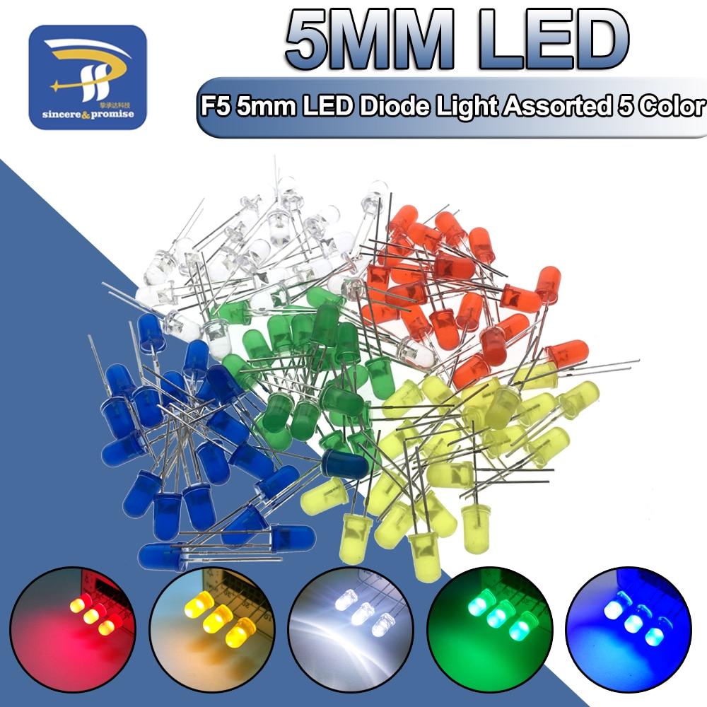 5 Цвета * 20 шт = 100 шт 5 мм светодиодный Диод светильник набор сортированных зеленый сине-белые желтого и красного цветов, набор компонентов «с...