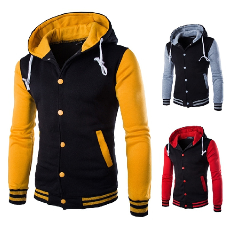 Jaqueta masculina moda com capuz casaco de beisebol casaco de algodão cardigan fino escovado camisola costura contraste cor grande tamanho 5xl jaqueta