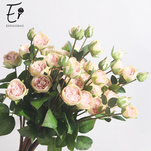 Erxiaobao 5 Heads Peony Artificial Flowers Pink White Rose Bud High Quality Fake Silk Flower Fall Decorations for Home Wedding