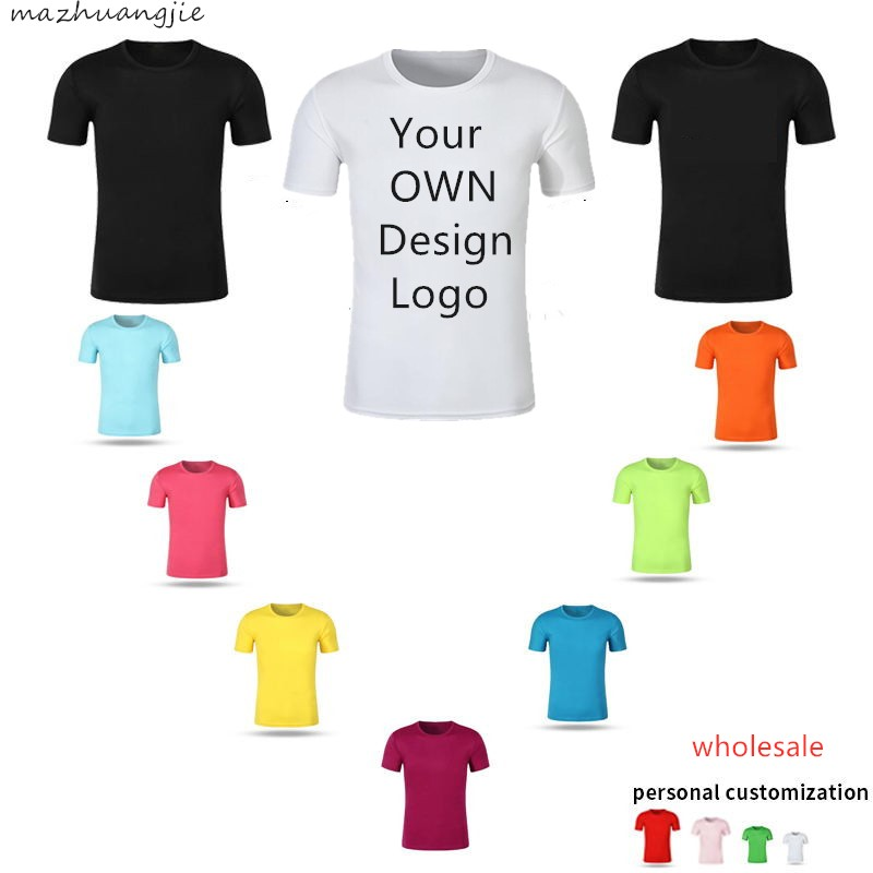 Custom Men Women Customized T Shirt Print Like Photo or Logo Text DIY Your OWN Design 100% Cotton Harajuku black TShirt