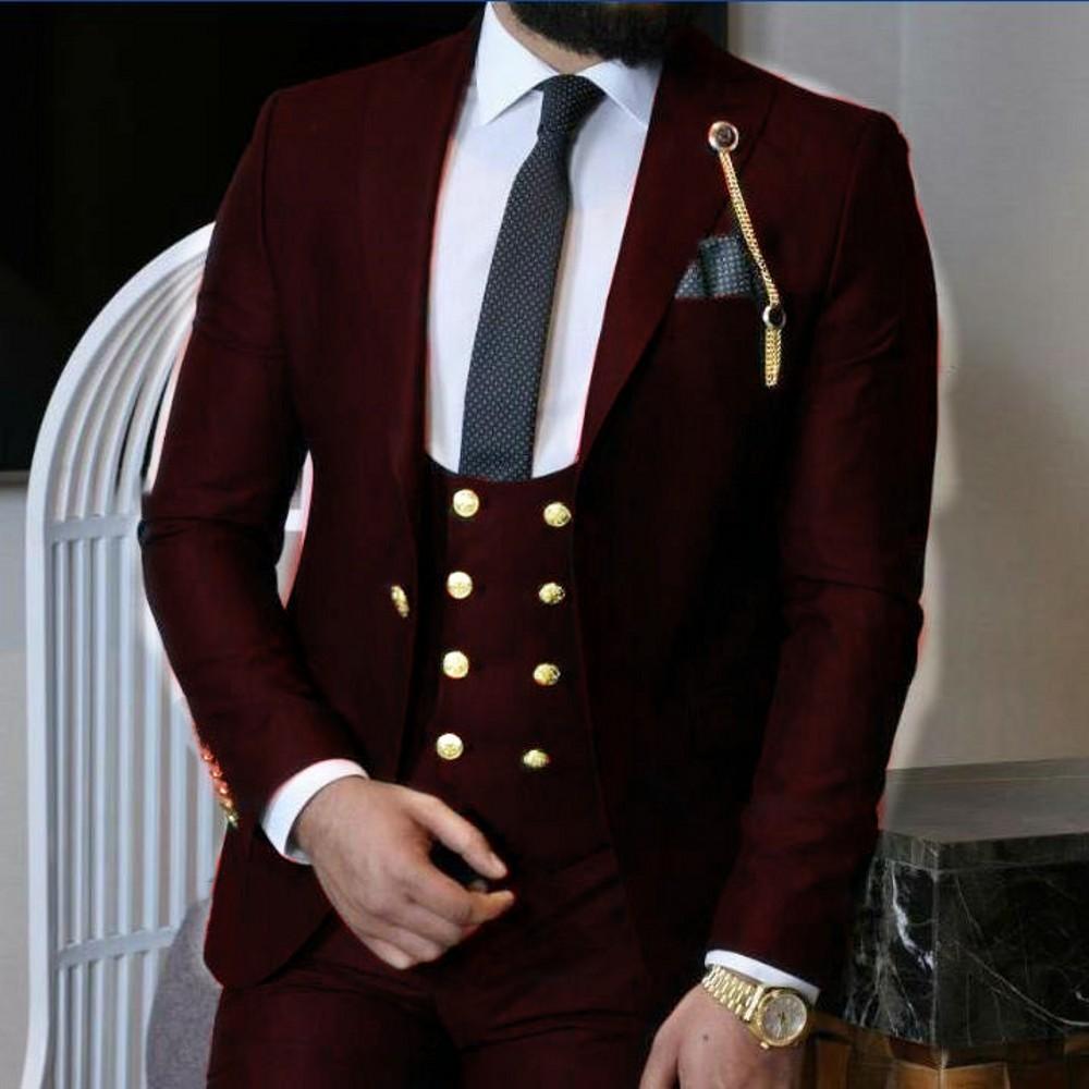 Groomsmen Black/Dark Red/Royal Blue Groom Tuxedos Peak Lapel Men Suits Wedding Best Man 3 Pieces ( Jacket+Pants+Vest+Tie ) C849