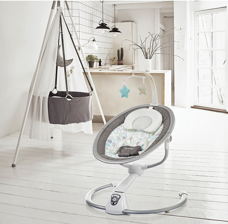 Ha0d8273dce1a49f8a13a8ef942f1af93M Babyinner Electric Baby Rocking Chair Bassinet Newborn with Mosquito Kids Swing 360 Degrees Rotatable Cradle Baby Sleeping Bed