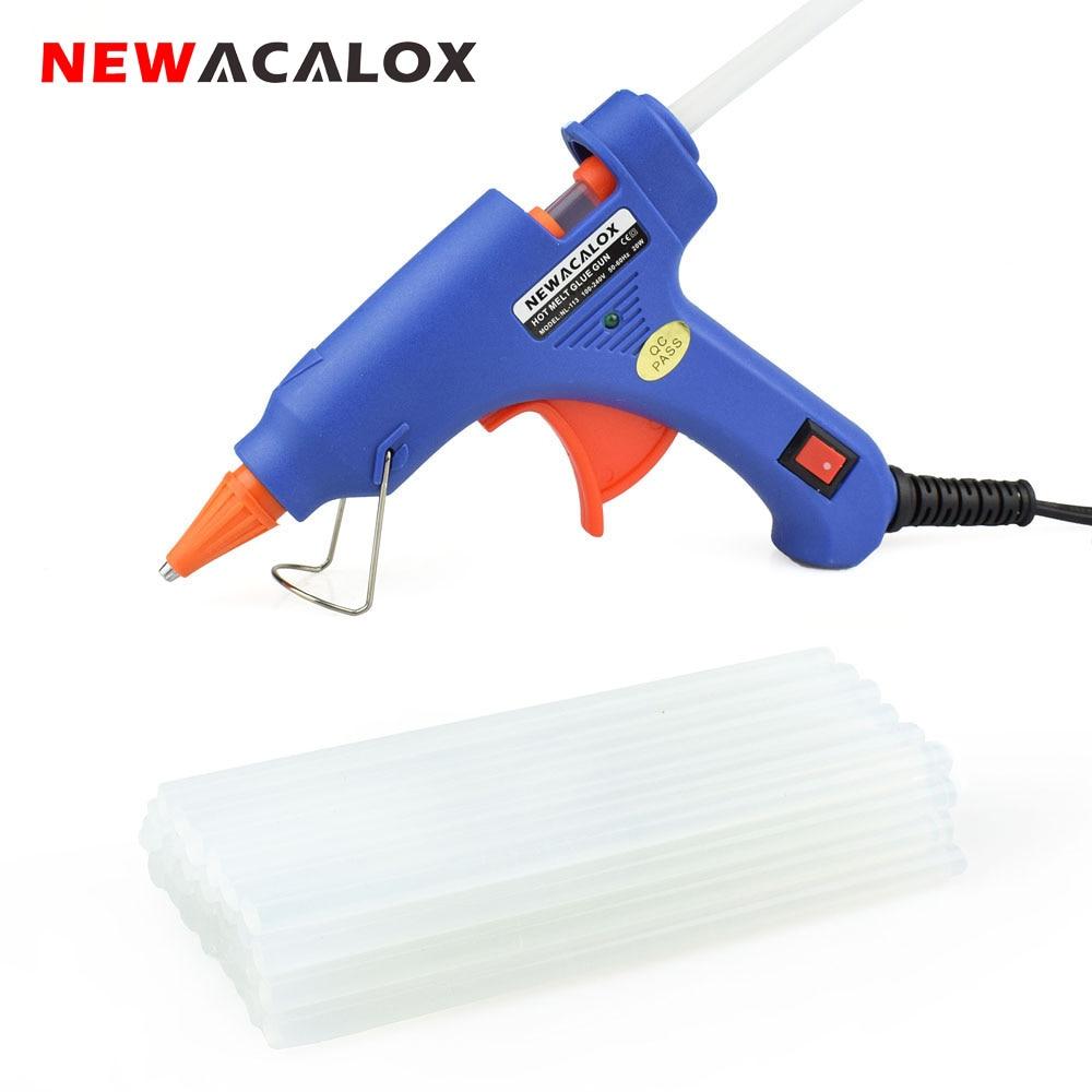 NEWACALOX 110V~240V 20W Hot Melt Glue Gun With 20pcs 7mm Glue Sticks Industrial Mini Guns Thermo Gluegun Heat Temperature Tool