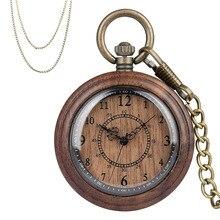 موضة جديدة 2019 ساعة جيب خشبية حافظة خشبية كاملة حركة الكوارتز العتيقة برونزية قلادة قلادة سلاسل هدايا الرجال النساء