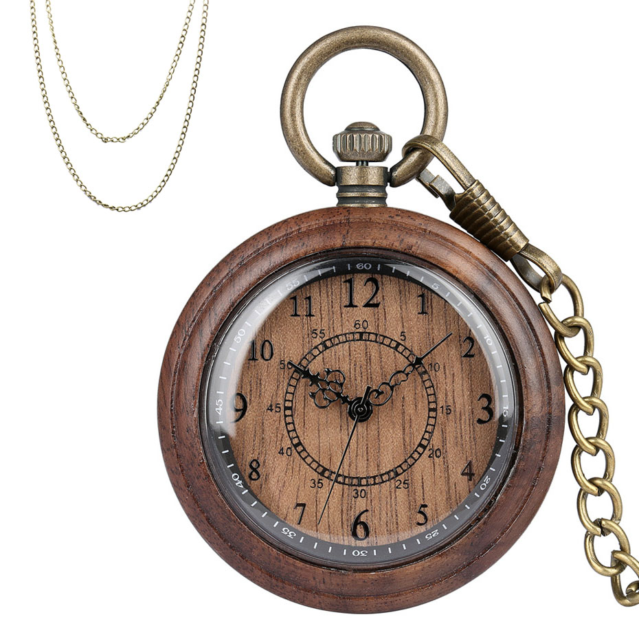 New Fashion 2019 Wooden Pocket Watch Full Wood Case Quartz Movement Antique Bronze Pendant Necklace Chains Gifts Men Women