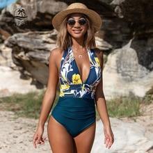CUPSHE البحرية الأزهار العميق الخامس الرقبة الرسن قطعة واحدة ملابس السباحة مثير عارية الذراعين الدانتيل يصل المرأة Monokini 2020 شاطئ لباس سباحة ملابس السباحة