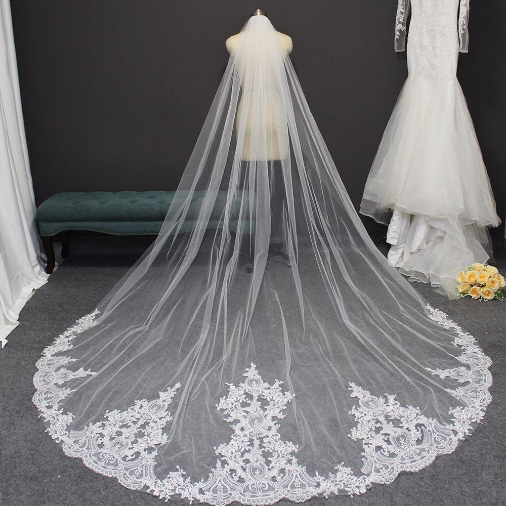 High Quality Lace Wedding Veil 3 Meters Long Bridal Veil With Comb Elegant Veil For Bride Veu De Noiva Wedding Accessories