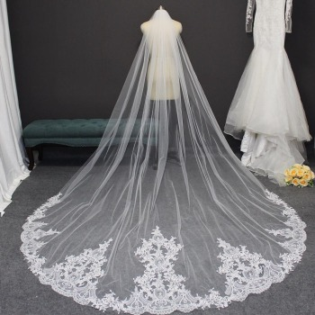 High Quality Lace Wedding Veil 3 Meters Long Bridal Veil with Comb Elegant Veil for Bride Veu de Noiva Wedding Accessories wholesale 3 meter tulle long cathedral wedding veil full lace trim appliqued 3m bridal veil for bride veu de noiva longo no comb