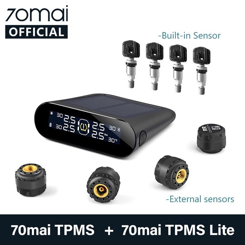 70mai система контроля давления в шинах для автомобильного мобильного приложения, светодиодный экран, солнечная энергия, 4 датчика, 70Mai TPMS, Авт...