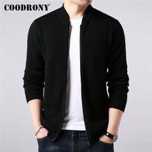 COODRONY เสื้อกันหนาวเสื้อเสื้อเสื้อผ้า 2019 ใหม่ฤดูใบไม้ร่วงฤดูหนาวหนาซิปเสื้อโค้ทผ้าขนสัตว์ชนิดหนึ่งขนสัตว์ Cardigan ผู้ชาย 91089