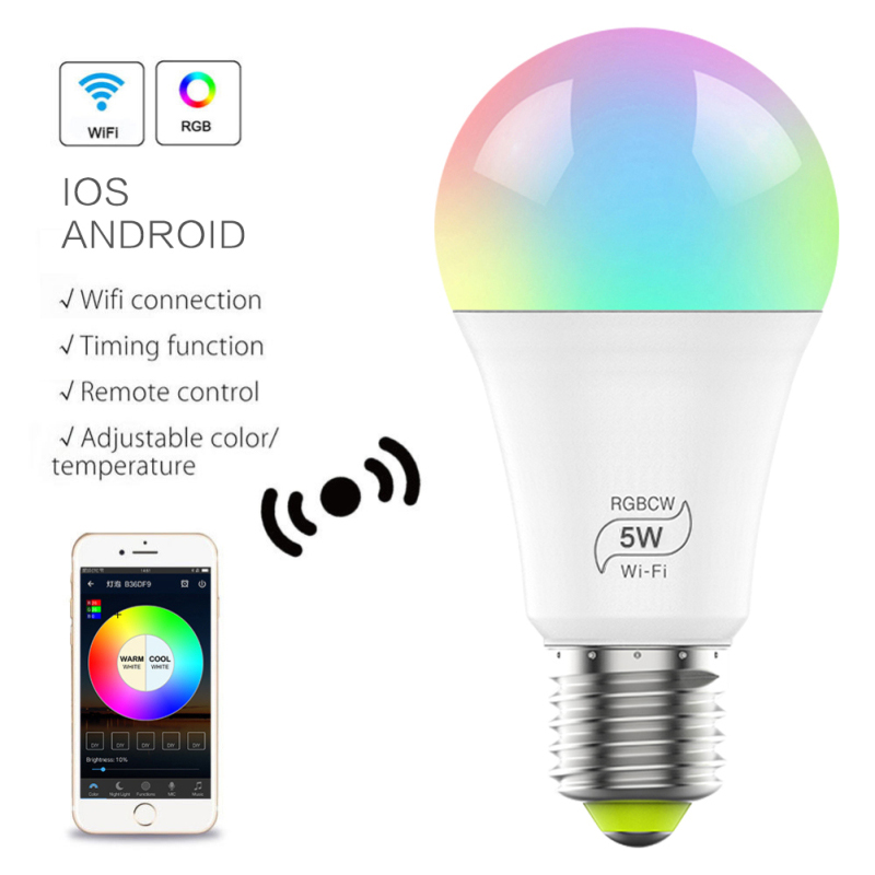 4.5W/ 5W/7W Smart WiFi Light Bulb Wireless Light Bulb 85-265V RGB E27 Smart WiFi Light Bulb Connect With Amazon Alexa Google